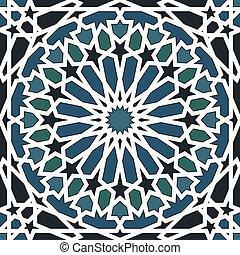 Patrón árabe sin marcas en azul y negro