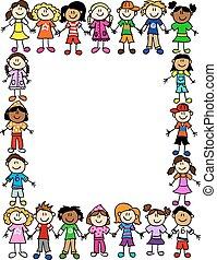 patrón, 2, amistad, seamless, niños