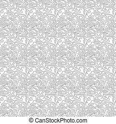 Patrón abstracto sin costura con línea ondulada. Ornamento de contorno blanco y negro.