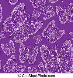 Patrón abstracto sin daños con mariposas dibujadas a mano. Ilustración. Diseño para textil o papel.