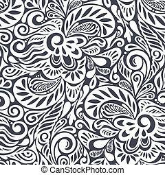 Patrón abstracto y rizado floral