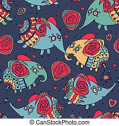 Patrón alegre sin costura con elefantes y rosas