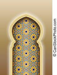 patrón, arco, islámico, árabe, tradicional