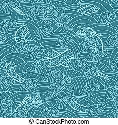 patrón, asiático, plano de fondo, dragón