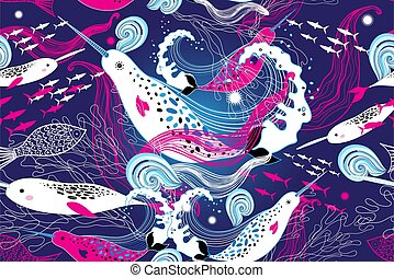 patrón, ballenas, marina, seamless, narwhal