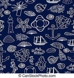 patrón, barco, habitantes, submarino, ilustración, seamless, océano, lighthouse., vector, mundo
