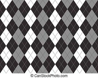 Patrón blanco negro gris argyle textil sin costura