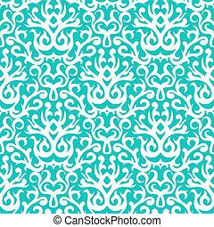 patrón, blanco, turquesa, damasco