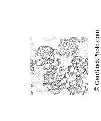 Patrón blanco y negro con flores