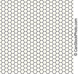 Patrón blanco y negro de hexágono sin costura