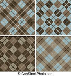 patrón, blue-brown, argyle-plaid