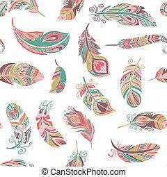 patrón, bohemio, estilo, plumas, seamless