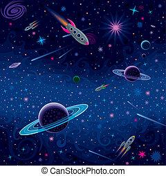 patrón, cósmico, seamless
