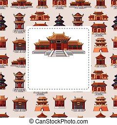 patrón, casa, seamless, caricatura, chino