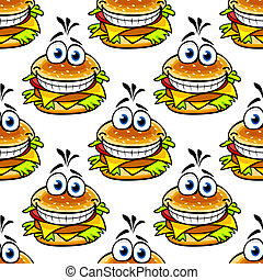 patrón, cheeseburger, seamless, caricatura