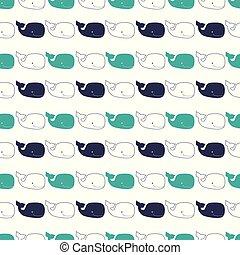 Patrón con ballenas de esperma