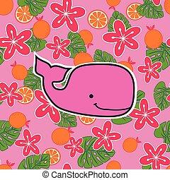 Patrón con ballenas de esperma rosadas