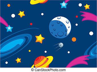 Patrón con planetas y estrellas