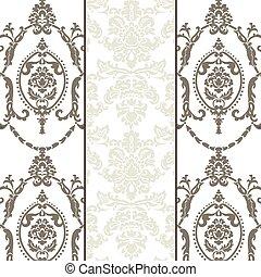 Patrón de adorno Vector damasco