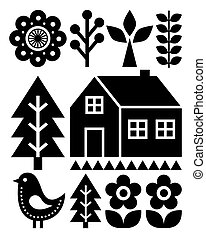 Patrón de arte popular finlandés inspirado, escandinavo, estilo nórdico en negro