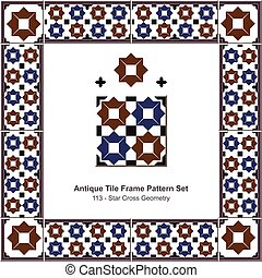 Patrón de azulejos antiguos estableció geometría islámica de estrellas azules