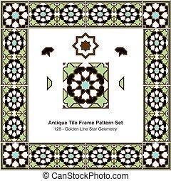 Patrón de azulejos antiguos estableció geometría islámica de estrellas verdes