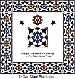 Patrón de azulejos antiguos estableció la cruz de la estrella islámica