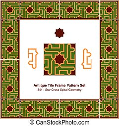Patrón de azulejos antiguos estableció una estrella islámica en la geometría espiral