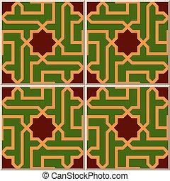 Patrón de azulejos de estrella islámica de la geometría espiral.