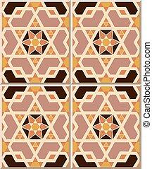 Patrón de azulejos de geometría islámica, estrella de poligon.