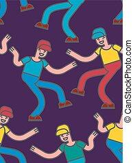 Patrón de baile callejero sin costura. Fondo de baile de hombres