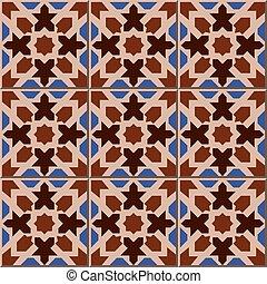 Patrón de baldosas de azulejos islámicos de geometría con forma de caleidoscopio