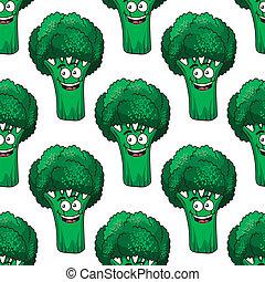 Patrón de brócoli de dibujos sin costura