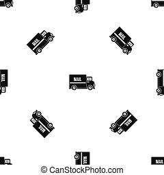 Patrón de camión de correo negro sin costura