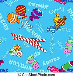 Patrón de caramelos sin costura sobre azul con bombón y texto de caramelo