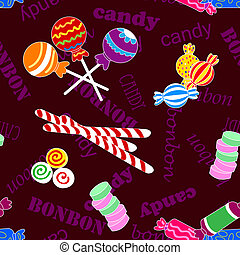 Patrón de caramelos y bombón sobre fondo oscuro