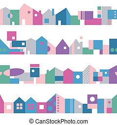 Patrón de casas coloridas