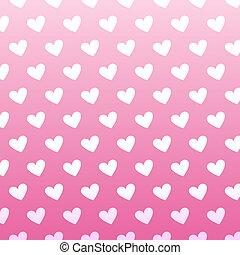 Patrón de corazón blanco de una cosecha inmaculada sobre fondo rosa.