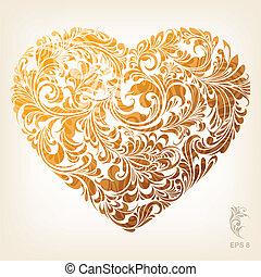Patrón de corazón de oro original