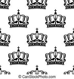 Patrón de corona real blanco y negro