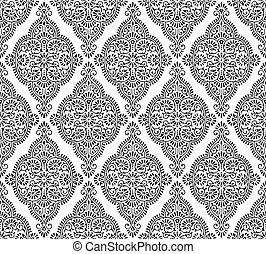 Patrón de damasco blanco y negro sin costura