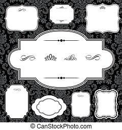 Patrón de damasco y marco fijados