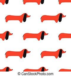 Patrón de dibujos de salchichas. Perro vector.