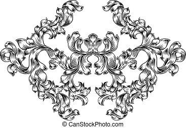 Patrón de diseño de diseño de flores en estilo antiguo