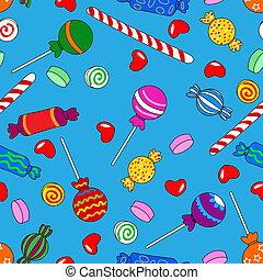 Patrón de dulces sin semen sobre el azul