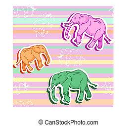 Patrón de elefante inservible en papel tapiz rayado