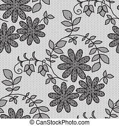 Patrón de encaje negro, flores de fondo blanco