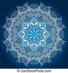 Patrón de encaje redondo ornamental, fondo de círculo delicado