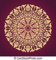 Patrón de encaje redondo ornamental.