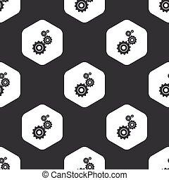 Patrón de engranajes Black Hexagon